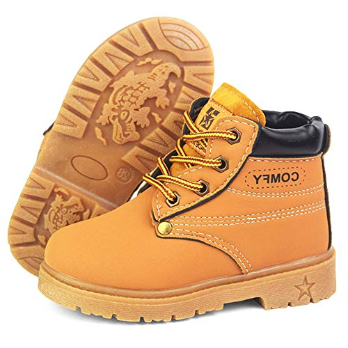 LAFEGEN Toddler Boys Girls Hiking Boots Waterproof Synthetic Leather Non Slip Lace Up Baby Kids Outdoor Work Martin Ankle Snow Boots(Toddler/Little Kid) 5 Toddler, 01 Yellow