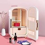 Mini frigorífico pequeño Mini nevera 12 litros Portátil Belleza Maquillaje Skincare Fridge Cosmetics Refrigerador Calentador de enfriador compacto con 5 espacios de almacenamiento grandes, para dormit