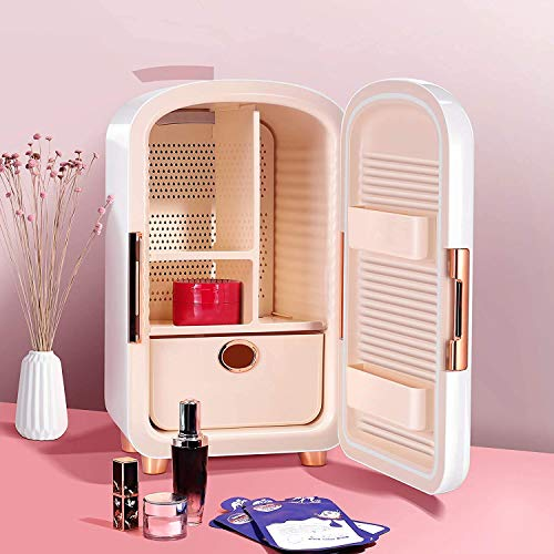 Mini frigorífico pequeño Mini nevera 12 litros Portátil Belleza Maquillaje Skincare Fridge Cosmetics Refrigerador Calentador de enfriador compacto con 5 espacios de...