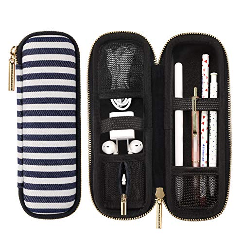 Comfyable Pencil Holder Pencil Case for Apple Pencil, Pen Accessories Elastic Strap Sleeve Protective Carrying Case for AirPods with Mesh Pockets, Blue Stripes