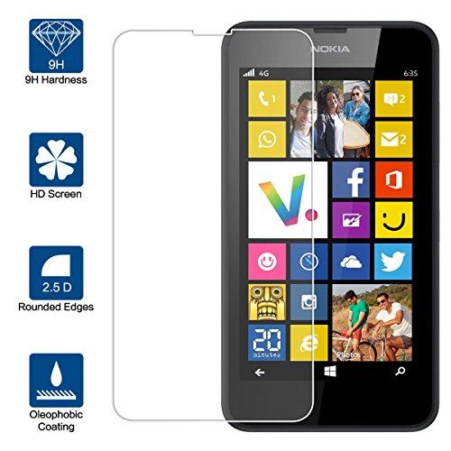 Beiuns Vetro temperato Protettiva Protezione protettore Proteggi Schermo per Nokia Lumia635/630