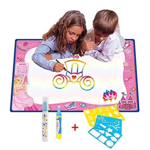 70CMx50CM Doodle Magic Tapis De Eau Dessins Arc en Ciel,TQP-CK Dessin Peinture Mat écriture 2 Doodle Water Magic stylo + 3 Stencil,Princesse