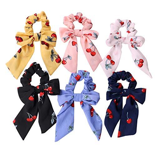 6-delige broodje, chiffon cherry Print Elastische paardenstaart met sjaal, 2-in-1 retro strik voor dames of meisjes