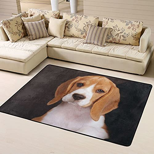 Alfombra de Dormitorio Ovely Pet Dog Beagle Non Slip Area Rugs 63 X 48 Inch, Carpet for Home Dining Room Playroom Living Room Large Floor Rug Floor Mat