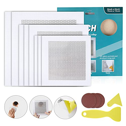 8 Pcs Drywall Repair Patch, Self-Adhesive Aluminum Drywall Repair Kit, Dry Wall Hole Repair Patch Mesh Sticker (1x Sandpaper,1x Scraper,3Pcs 2x2 inch,3Pcs 4x4 inch, 2Pcs 6x6 inch)