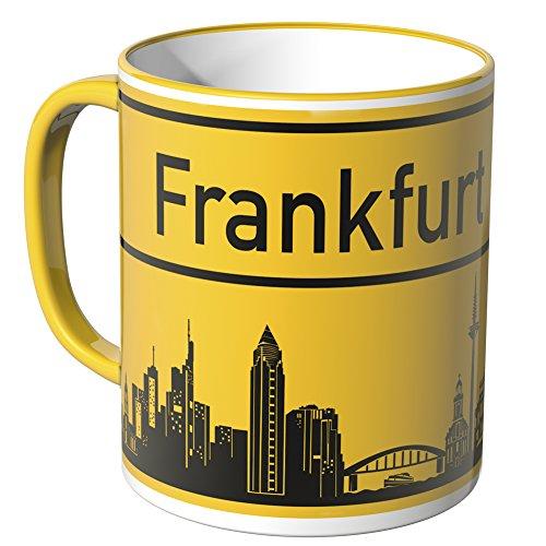 WANDKINGS® Tasse, Skyline Frankfurt - GELB
