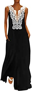 Women Vintage Women Bohemian Sleeveless V Neck Splicing Lace Hollow Daily Casual Summer Dress Plus Size (S-5XL)