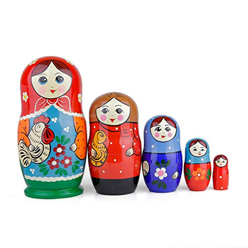 Muñecas Rusas, 5 Matrioskas de Estilo Kurochka | Muñeca Babushka de Madera, Diseño de Chica con Ave, Hecha a Mano en Rusia | Kurochka, 5 Piezas, 18 cm
