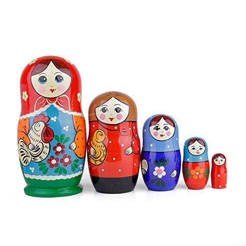 Russische nestpoppen, 5 traditionele matroesjka | Babushka houten poppen, met de hand gemaakt in Rusland (Kurochka, 5-delig)