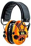 Sordin Supreme PRO X - Hunting Safety Ear Muffs with LED Light - Gel Seals - Orange Mossy Oak Camo and Leather Headband