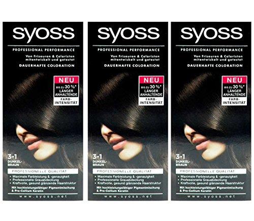 3x SYOSS Haarfarbe 3-1 DUNKELBRAUN - Farbgenaues Ergebnis