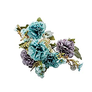 AkoMatial 1Pc 5 Branches Colorful Artificial Carnation Simulation Flowers Decor Gift for Restaurant Hotel Home Garden Wedding Party