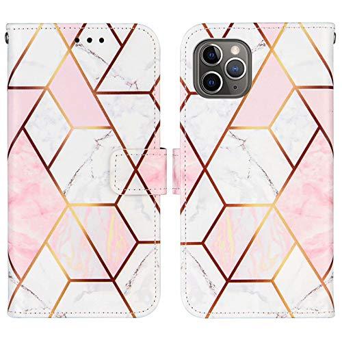 WJMWF Compatible con Funda iPhone 11 Pro MAX Costuras Mármol PU Cuero Wallet Flip Caso Cierre Magnético Ranura para Tarjetas con Correa Mano Antigolpes Case Rosa y Blanco