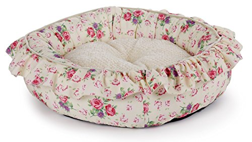 ALL FOR PAWS AFP4717 Hundebett, Shabby Chic, rund, M, cremefarben