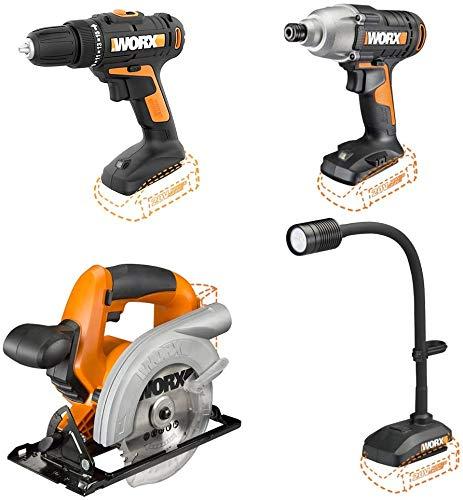 WORX WX961L 20V Cordless Drill Driver WX101, 20V Cordless Imapct Driver WX291L, 20V Cordless Circular Saw WX529L and 20V Flexible LED light WX028L Combo Kit