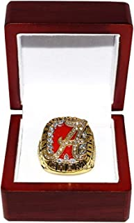 UNIVERSITY OF ALABAMA CRIMSON TIDE (Coach Nick Saban) 2009 BCS NATIONAL CHAMPIONS (Roll Tide) Rare Collectible High-Quality Replica College Football Gold Championship Ring with Cherrywood Display Box