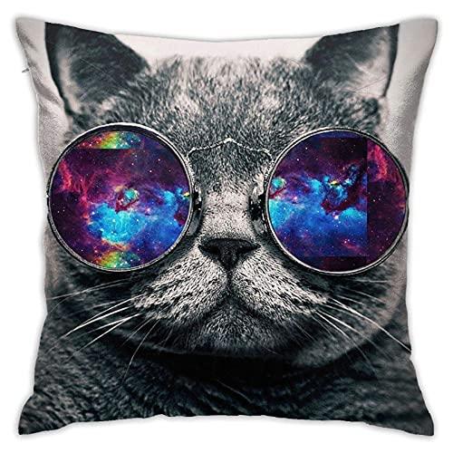 smartgood Divertido Gato Desgaste Galaxy Color Gafas de Sol Funda de Almohada para sofá sofá hogar Dormitorio decoración de Coche Interior/Exterior 45x45cm