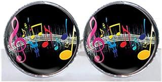 Black and white cross Gemelos redondos para azulejos de cristal – Música colorida