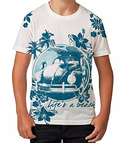 Bang Tidy Clothing Life'S A Beach Summer Surfing Retro Hawaiian Flowers Boys Unisex Child...
