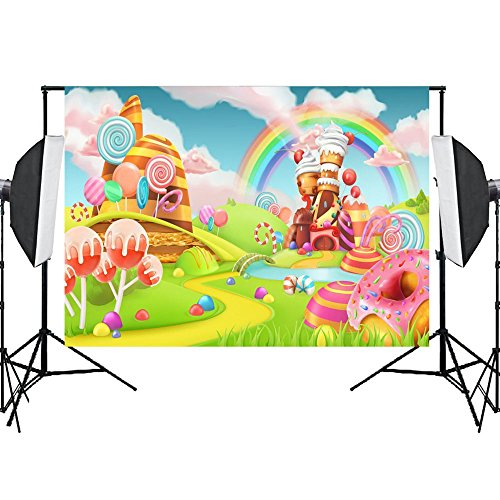 Photo Background Candyland Backdrop Props Vinly Backdrops for Photography Birthday Party Studio Video Sweet Rainbow Candy 7X5ft