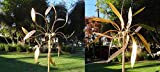 SET OF TWO Artistic Copper Wind Sculptures: Handmade Large Kinetic Wind Spinners for House Lawn Garden Decorations Pinwheels High Quality, Long Skinny Leaves and Small Oval Leaves