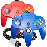 2 Pack Classic 64 Controller, iNNEXT Game pad Joystick for 64 - Plug & Play (Non PC USB Version) (Blue/Red)