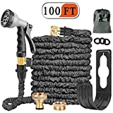 Expandable Garden Hose Pipe 100FT Expanding Water Hose 8 Function Spray Gun Double