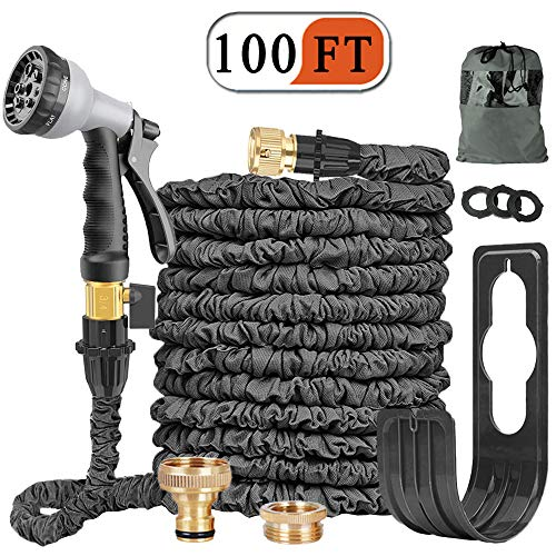 Expandable Garden Hose Pipe 100FT Expanding Water Hose 8 Function Spray Gun Double Latex Inner Tube Solid Brass Fittings No-Leaking ,Strength Fabric ,Flexible Hose Pipes