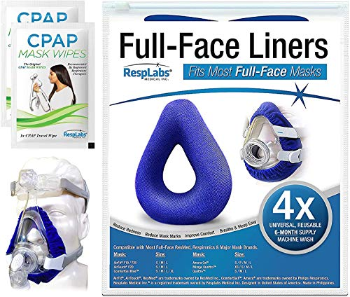 RespLabs Full Face CPAP Mask Liners, Reusable & Universal Soft Fleece Cover, 4 Pack