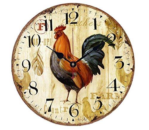 VieVogue Wanduhr, Holz Küchenuhr mit großem Ziffernblatt aus MDF, Retro Uhr im angesagtem Shabby Chic Design mit leisem Quarz-Uhrwerk (Hahn, 30cm)