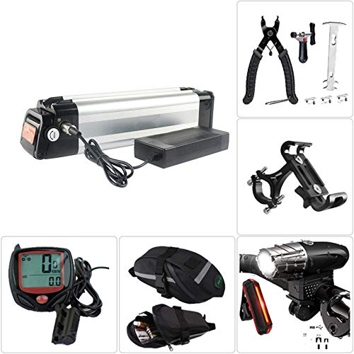 SYN-GUGAI Batería de Bicicleta eléctrica Batería de Bicicleta eléctrica de 36V / 48V, Faro de Carga USB y Juego de Luces traseras, Herramienta de extracción, Bolsa de sillín, cronómetro,36V17.5Ah