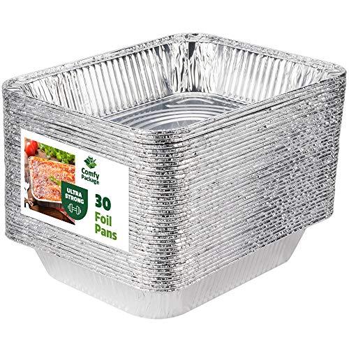 [30 Pack] 9 x 13 Aluminum Foil Pans Half Size Deep Steam Table Pans