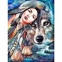 5Dダイヤモンド塗装フルレジンダイヤモンド塗装ダイヤモンド刺繍インディアナ女の子とオオカミ縫製モザイククロスステッチ家の装飾