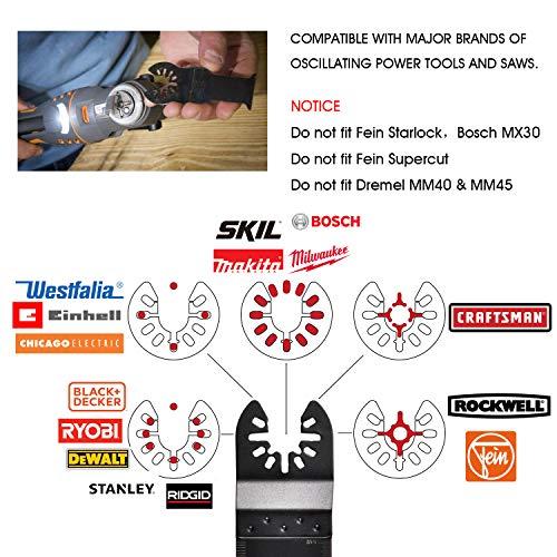 Adust 50 Wood Oscillating Multi Tools Saw Blades, Multitool Accessories for Wood/Plastic/Soft Metal Cutting Fit Dewalt Tools Bosch Ridgid Milwaukee Rockwell Fein Oscillating Tool