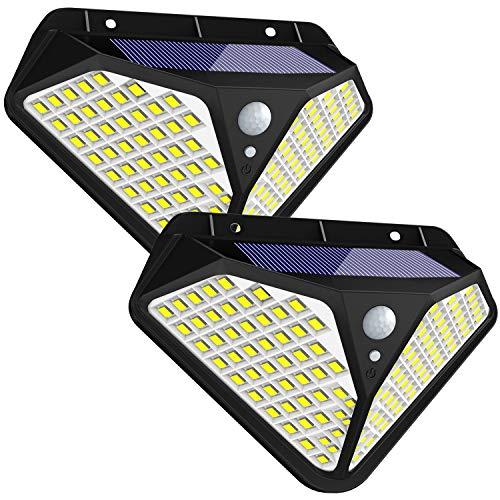 Fortand Solarlampen für Außen,【Superhelle 102 LED】270 ° Solar Bewegungsmelder Aussen LED Solarleuchte mit Bewegungsmelder Solar Wasserdichte Wandleuchte mit 3 Modi Für Garten,Balkon 2 Stück
