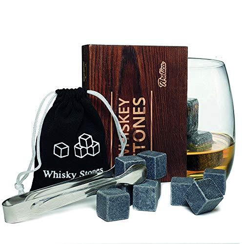 Aretica Whiskey Stenen Stones Gift set - Voor een echte whiskey on the rocks - Herbruikbare natuurstenen ijsblokjes - Ice cubes - Luxe kerst cadeau - Cadeau set in houten doosje - Ijsklontjes van steen - Set van 9 stuks