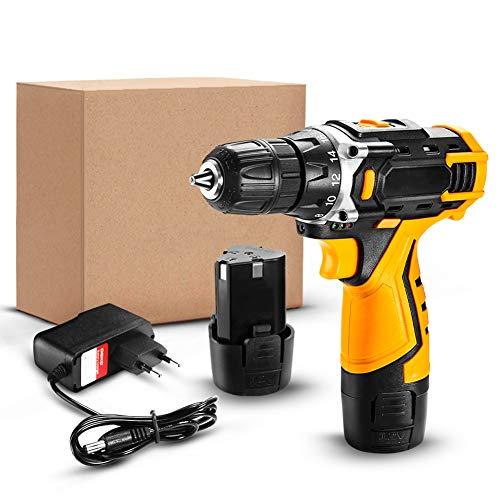 KOWE Atornillador Electrico, 18 + 1 Ajustes De Torque, 2 Velocidades, Luz De Trabajo LED, con 2 Baterías De Iones De Litio