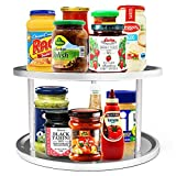 2-Tier Lazy Susan, Non-Skid Metal Turntable Lazy Susan, 10.5 inch, Updated Turntable Base, Double Tier Round Lazy Susan for Kitchen, Cabinet, Pantry, Spice Rack Storage