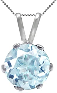 6mm Round Shape 925 Sterling Silver Solitaire Pendant with 18 Inch Chain Necklace