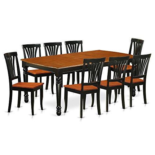 9 PC kitchen tables and chair set with one Dover dining table and 8 kitchen chairs in a Black and Cherry Finish
