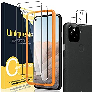 UniqueMe [2+2 Pack] Screen Protector Compatible with Google Pixel 5A +Camera Lens Protector, Tempered Glass Film[Anti-Scratch] [Case Friendly]