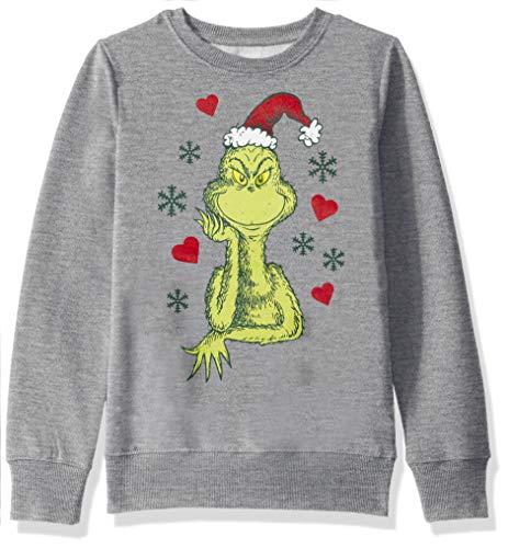 Dr. Seuss Girls' Ugly Christmas Crew Sweatshirt, Grinch/Medium Heather Grey, Large (10/12)