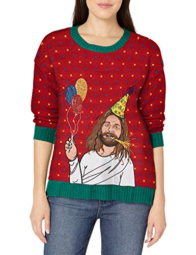 Blizzard Bay Women's Ugly Christmas Jesus Sweater, Red/Green, XL