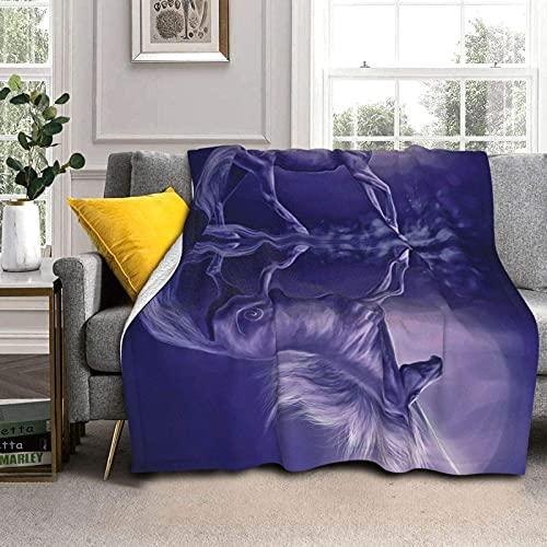 Coperta calda e spessa con unicorno, con luce di luna e coperta per aria condizionata, morbida coperta per letto, divano, divano, sedia