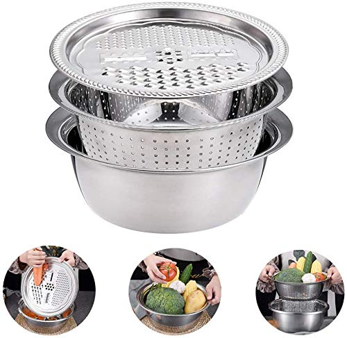 3-in-1 Multifunctional Stainless Steel Basin,Large Capacity,Kitchen Vegetable Fruits Julienne Slicer,Kitchen Graters Cheese Grater,with Drain Basin for Vegetables Fruits Cheese Cutter (Multicolor)