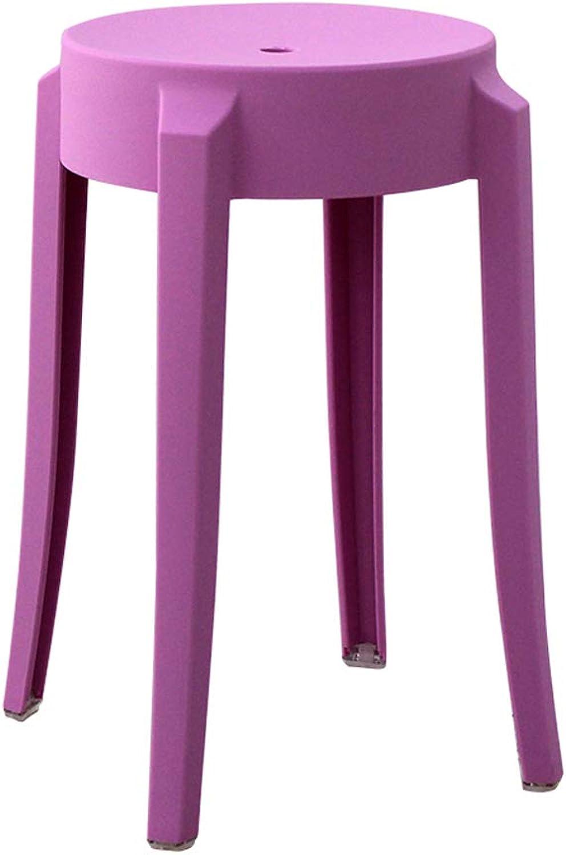 Nordic Creative Purple Plastic Stool Thickened Adult Fashion Small Stool Modern Home High Stool