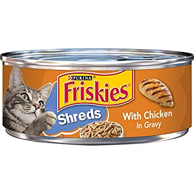 Purina Friskies Gravy Wet Cat Food, Shreds With Chicken - 5.5 oz. Cans (Pack of 24)