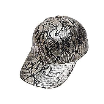 YueLian Snakeskin Grain Pattern Hip Hop Baseball Cap for Men Boys  Grey