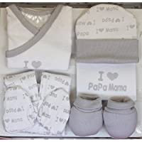 "Set Regalo Primera Puesta""I Love You"": Gorrito + Pantalón + Camiseta + Manoplas + Babero - Color Gris."