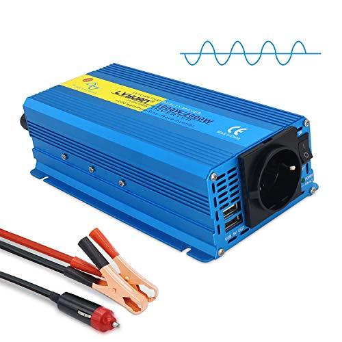 Yinleader inverter a onda sinusoidale pura 1000W 12V 230V trasformatore di tensione con 1 presa 2 porte USB
